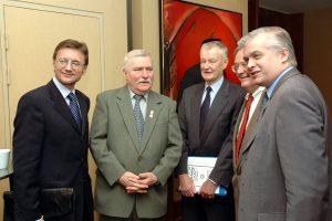 President Lech Wałęsa and Speaker of Parliament Włodzimierz Cimoszewicz, Prof. Zbigniew Brzeziński, Jerzy Koźmiński