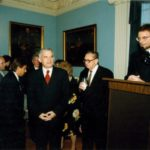 Prime Minister Jerzy Buzek, Professor Jan Karski, General Edward Rowny, Ambassador Jerzy Koźmiński – Embassy of the Republic of Poland in Washington, 1998